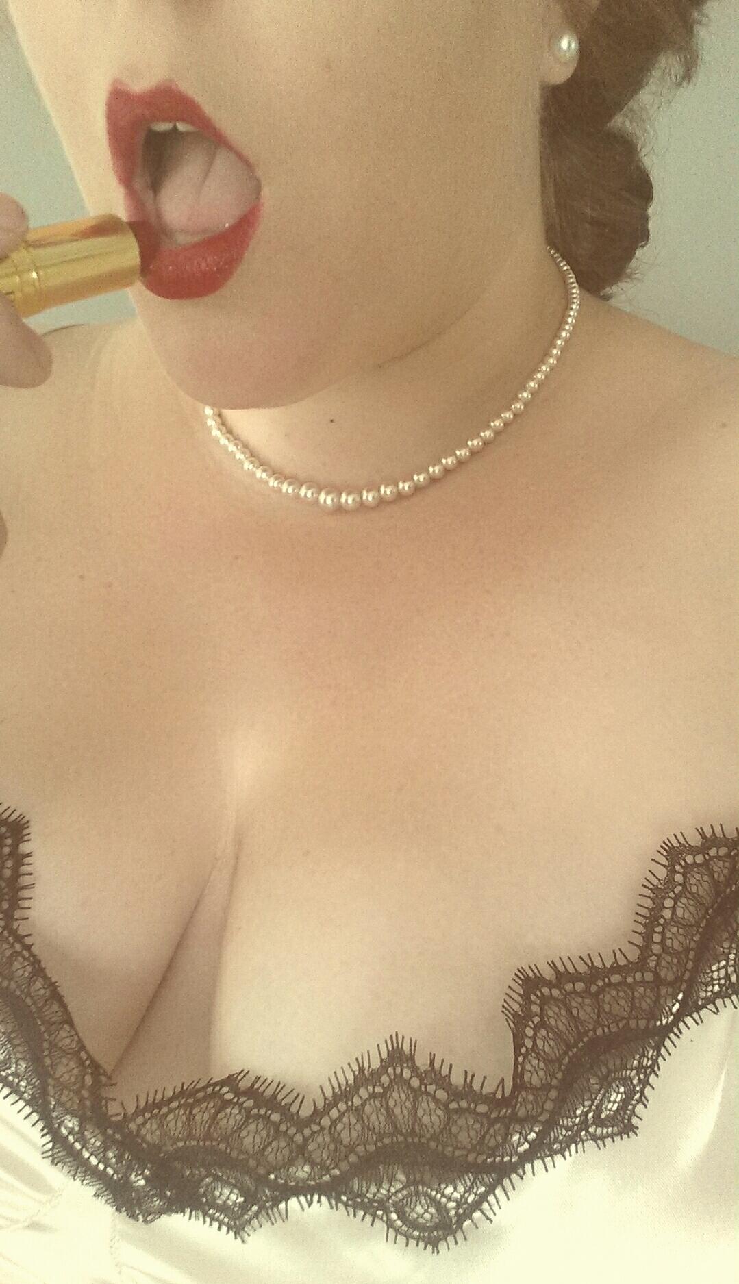 Pearls, Mirror, Lipstick