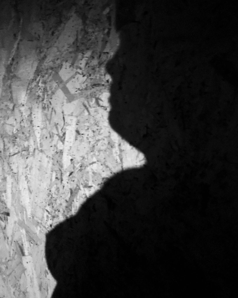 shadow of a nude woman against particle board, black and white photography