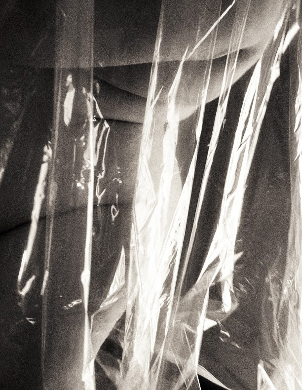 black and white photo of nude woman standing behind a clear plastic sheet